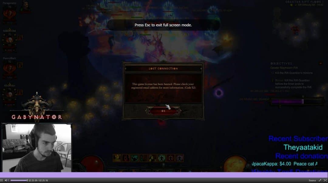 Diablo 3-Livestreamer Gabynator auch gebannt
