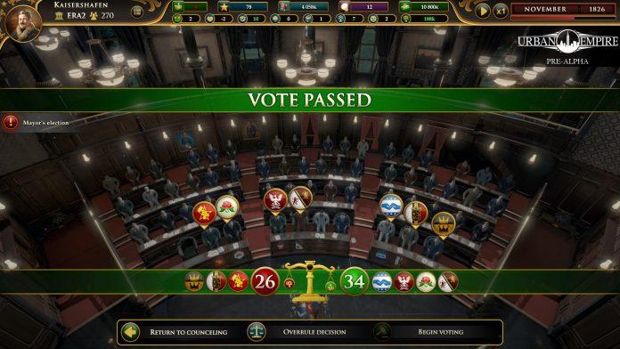Urban Empire Abstimmungsbildschirm