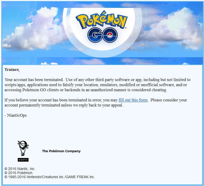 Pokémon Go Niantic Labs Ban Mail