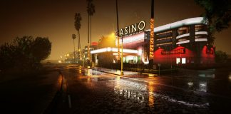 Vinewood Casino GTA V PC bei Nacht